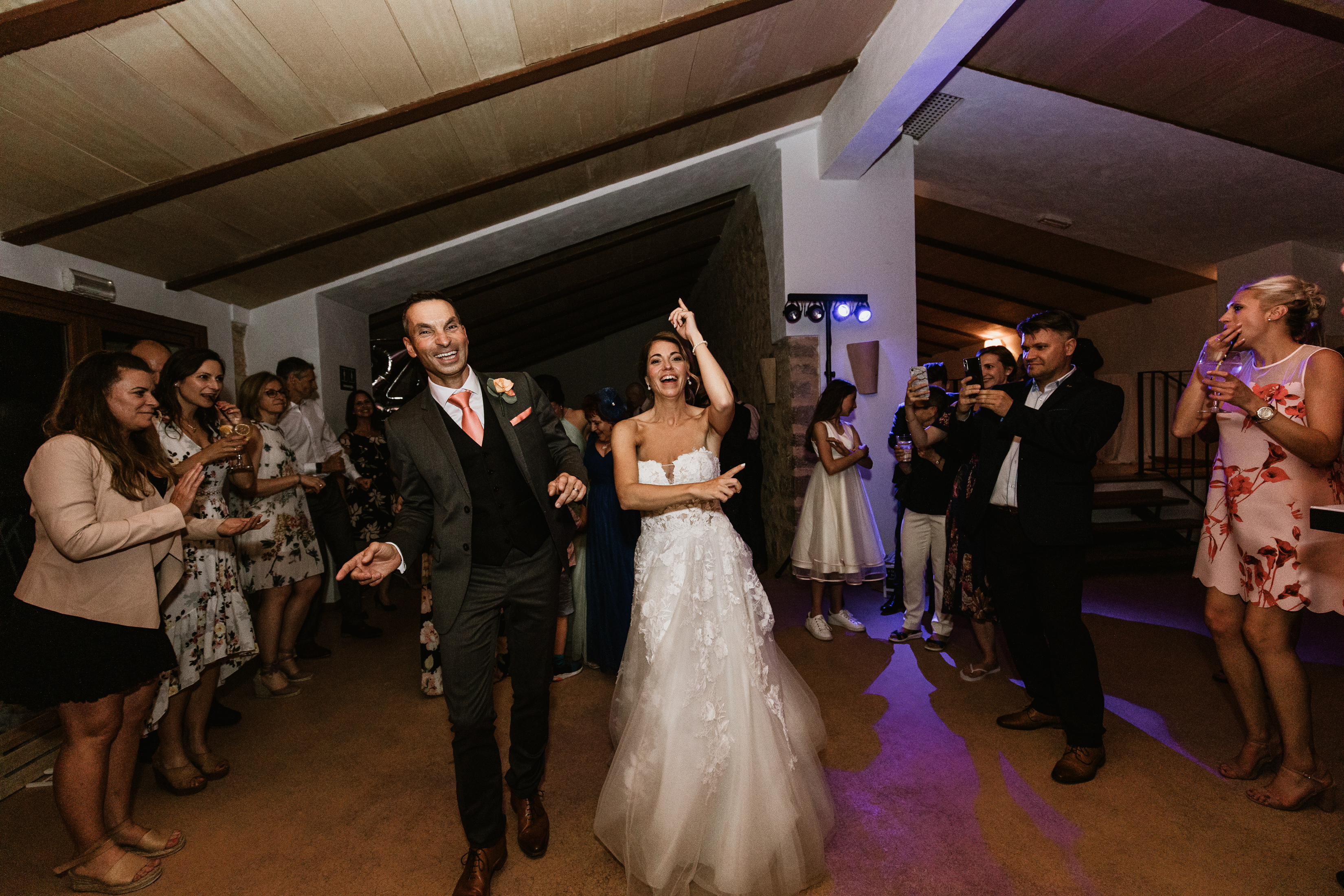 The bride and groom take to the dance floor