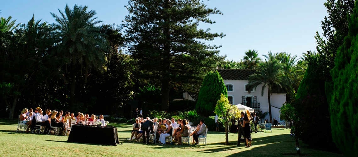 Wedding guests in the glorious grounds of El Molino