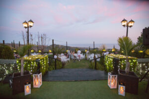 Evening wedding lights and an incredible sea view