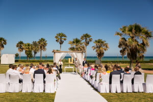 The beachfront ceremony and guests