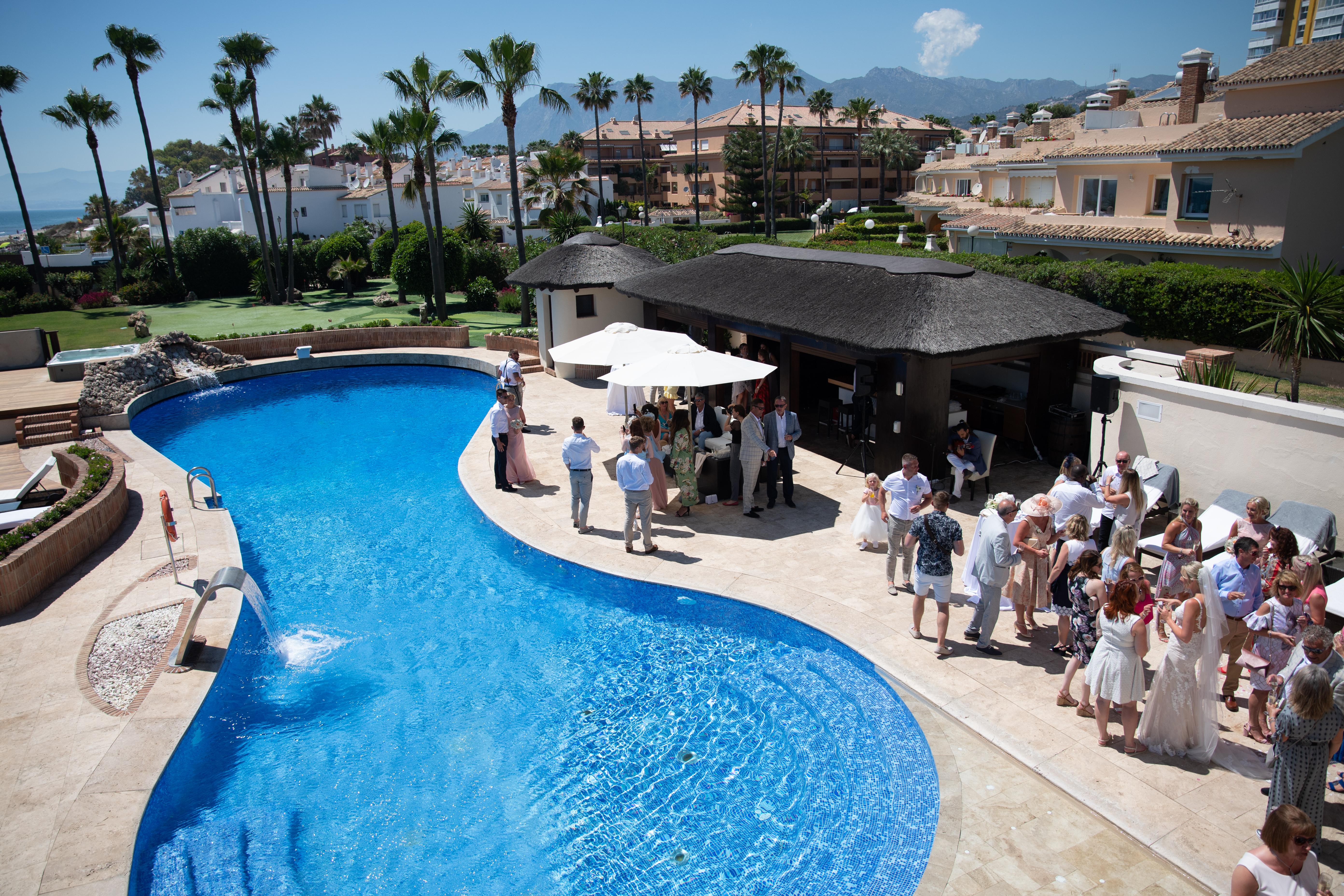 The villa's stunning pool