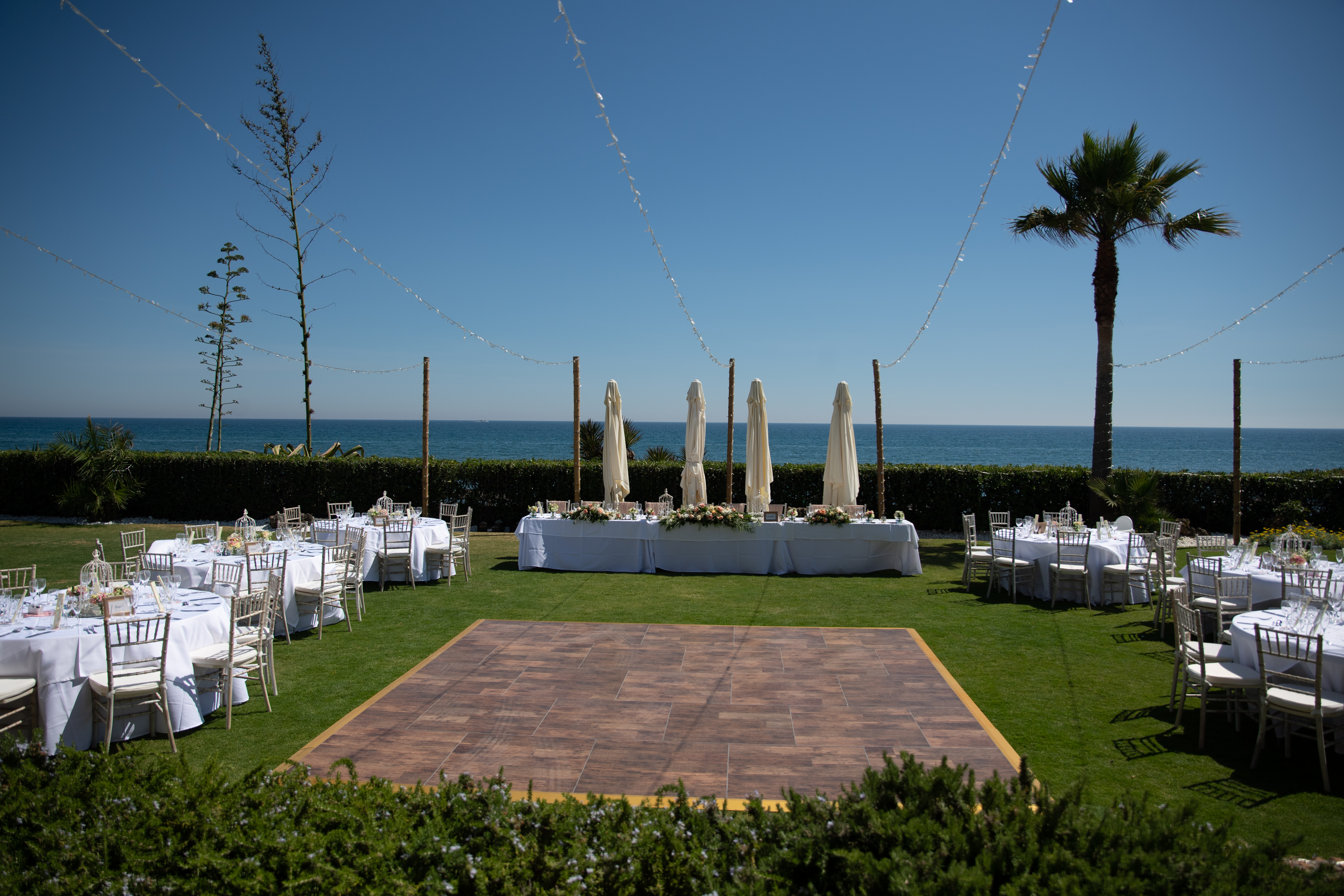 Wedding table settings with a sea view