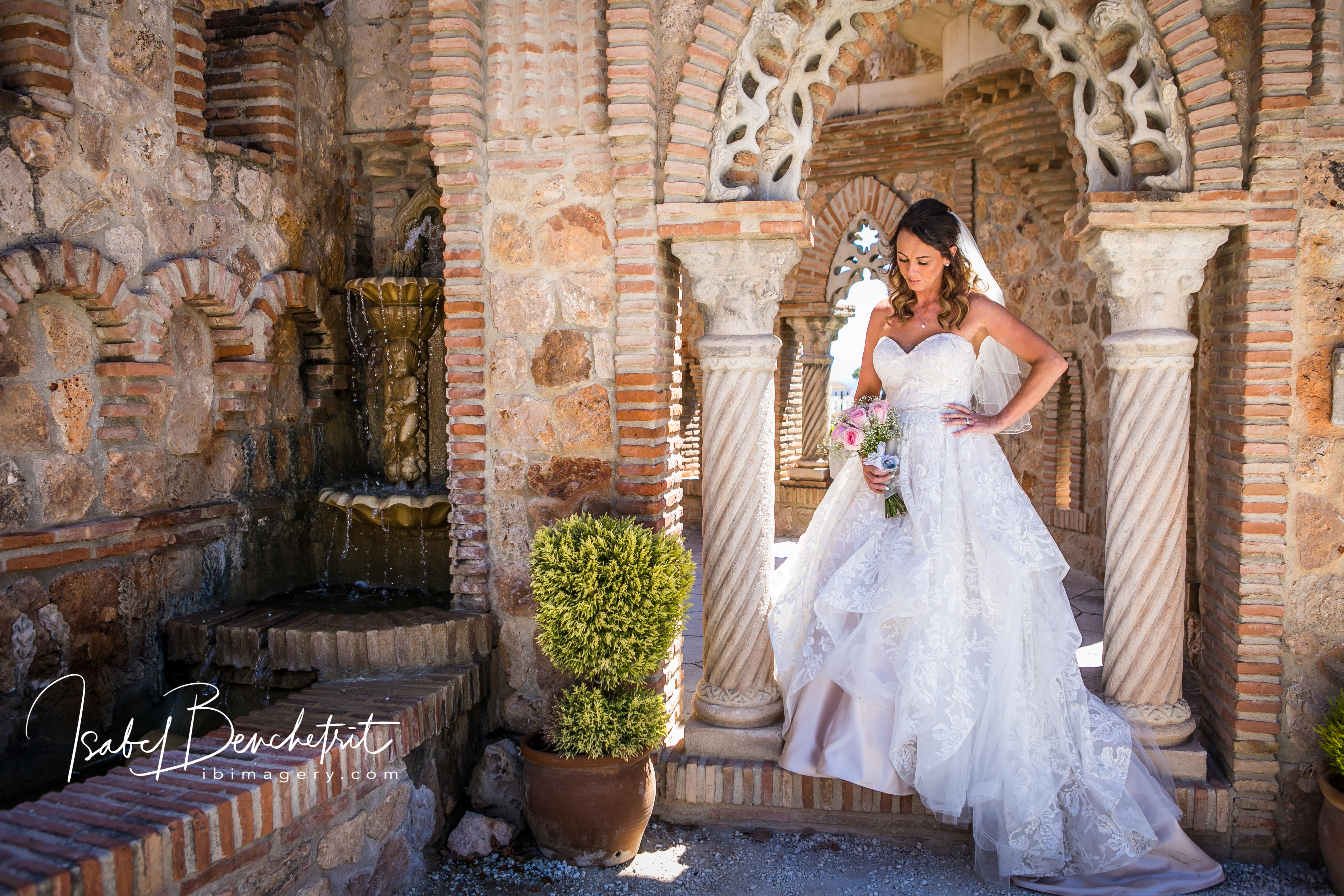 The beautiful bride in her gown