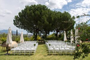 Wedding ceremony set-up in the Hacienda's gardens