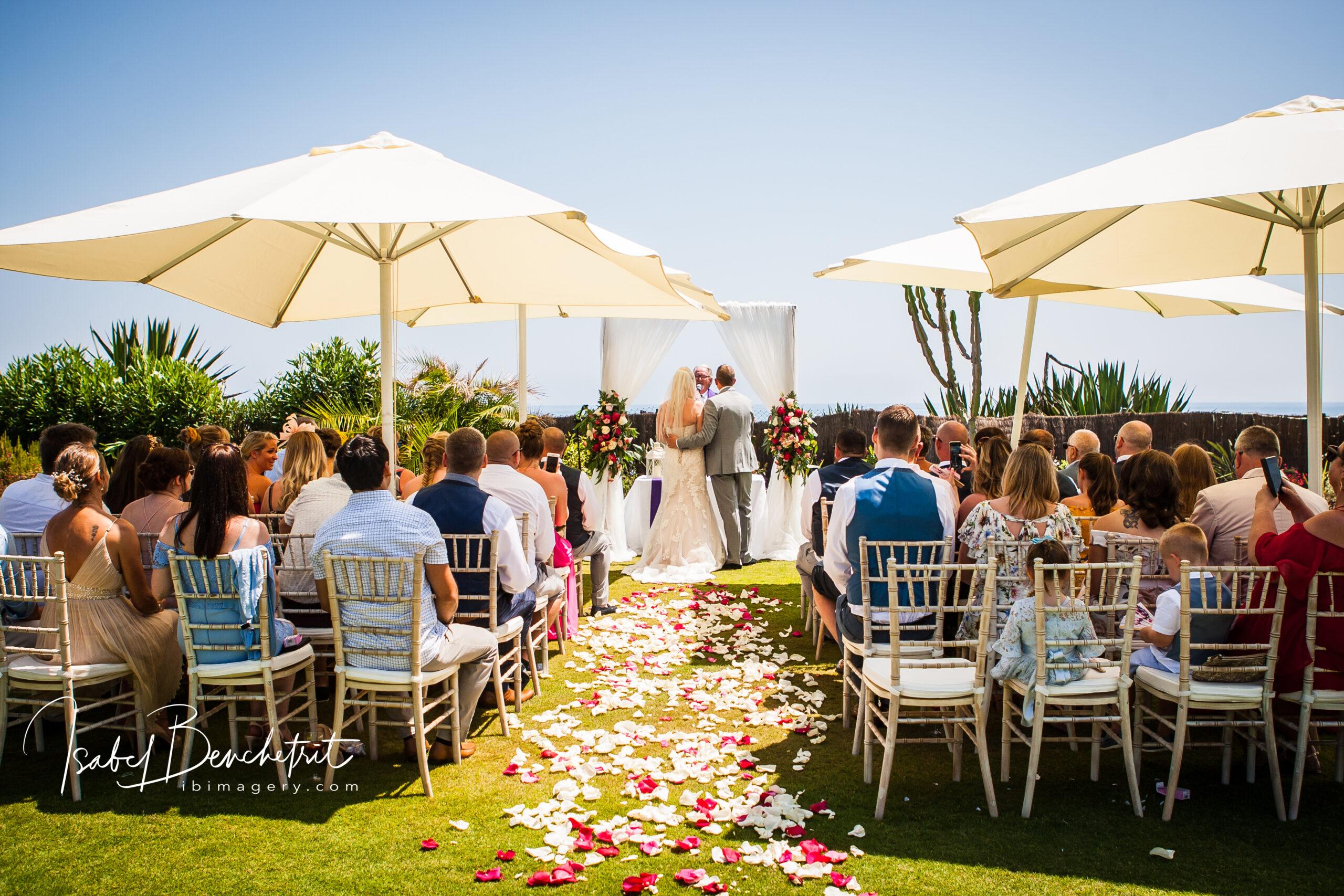 Wedding ceremony in the stunning villa gardens