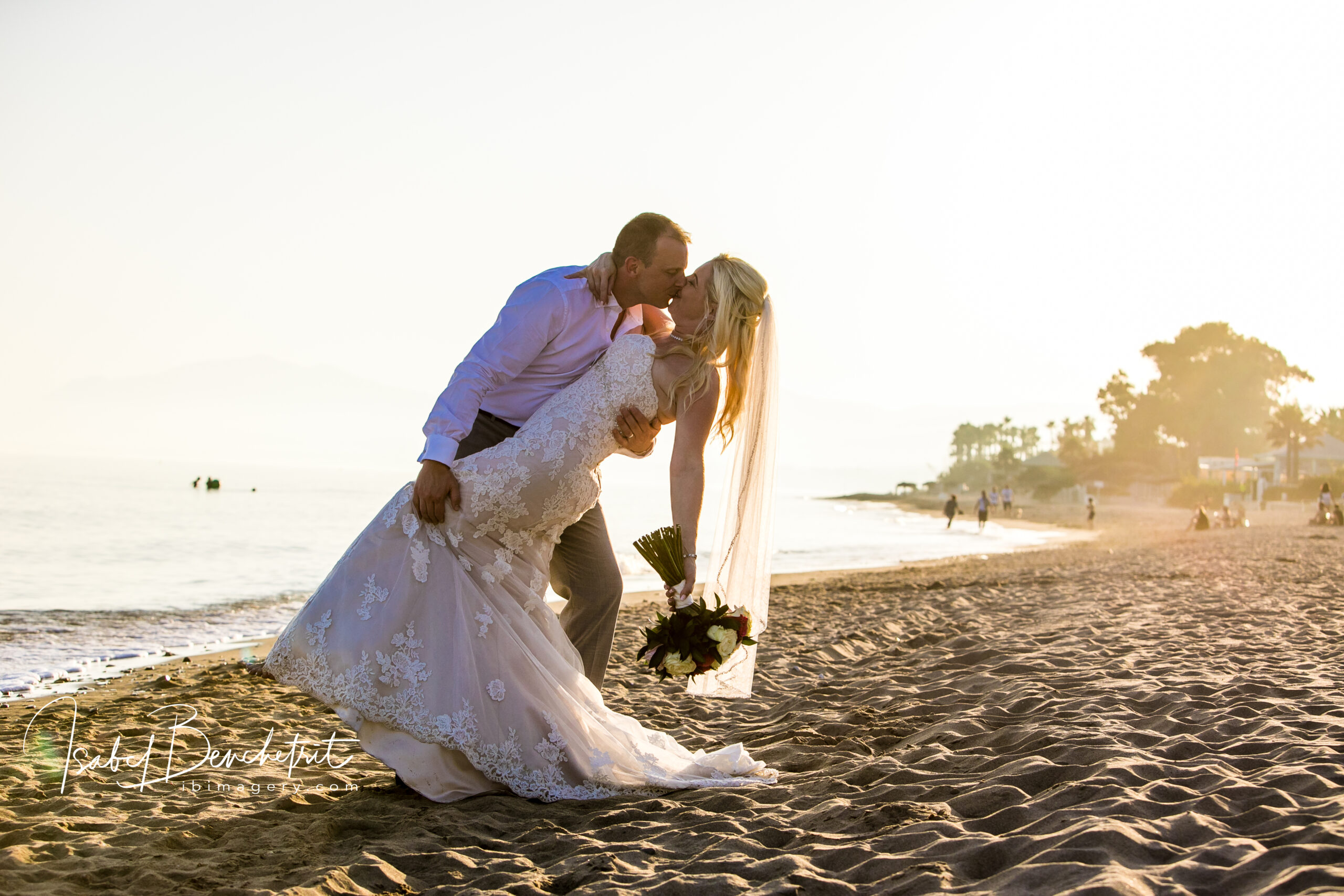 The bride and groom on the beach