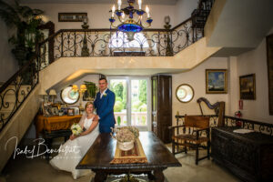 The bride and groom inside the beautiful venue