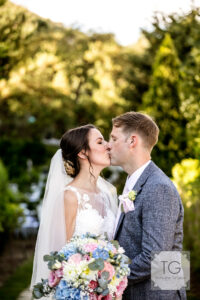 The newlyweds in the garden