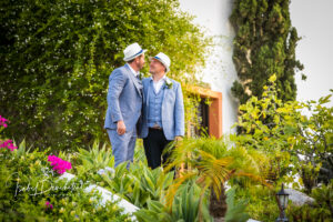 The happy couple in the Hacienda's grounds