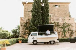 The popular VW drinks van in the courtyard of the Finca