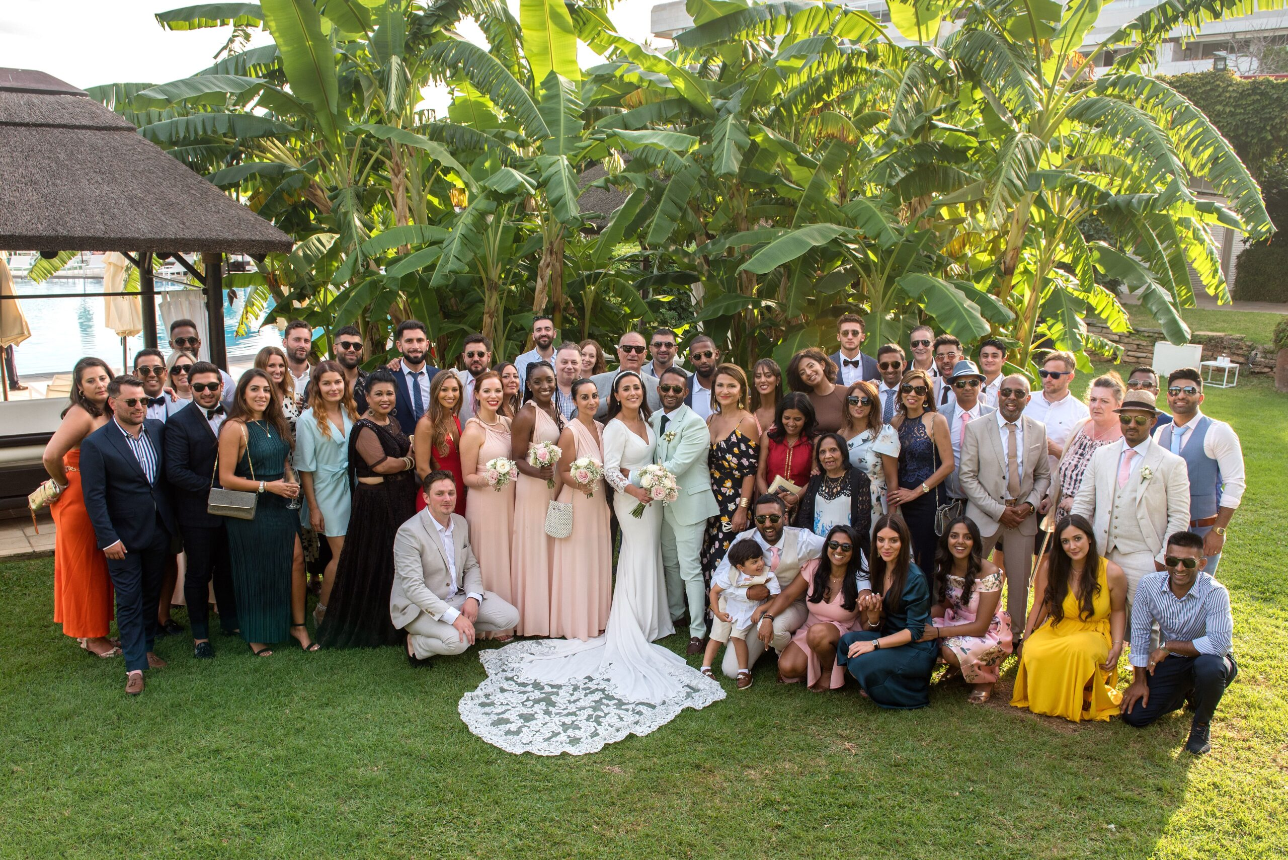 The bridal party in the grounds of the hotel