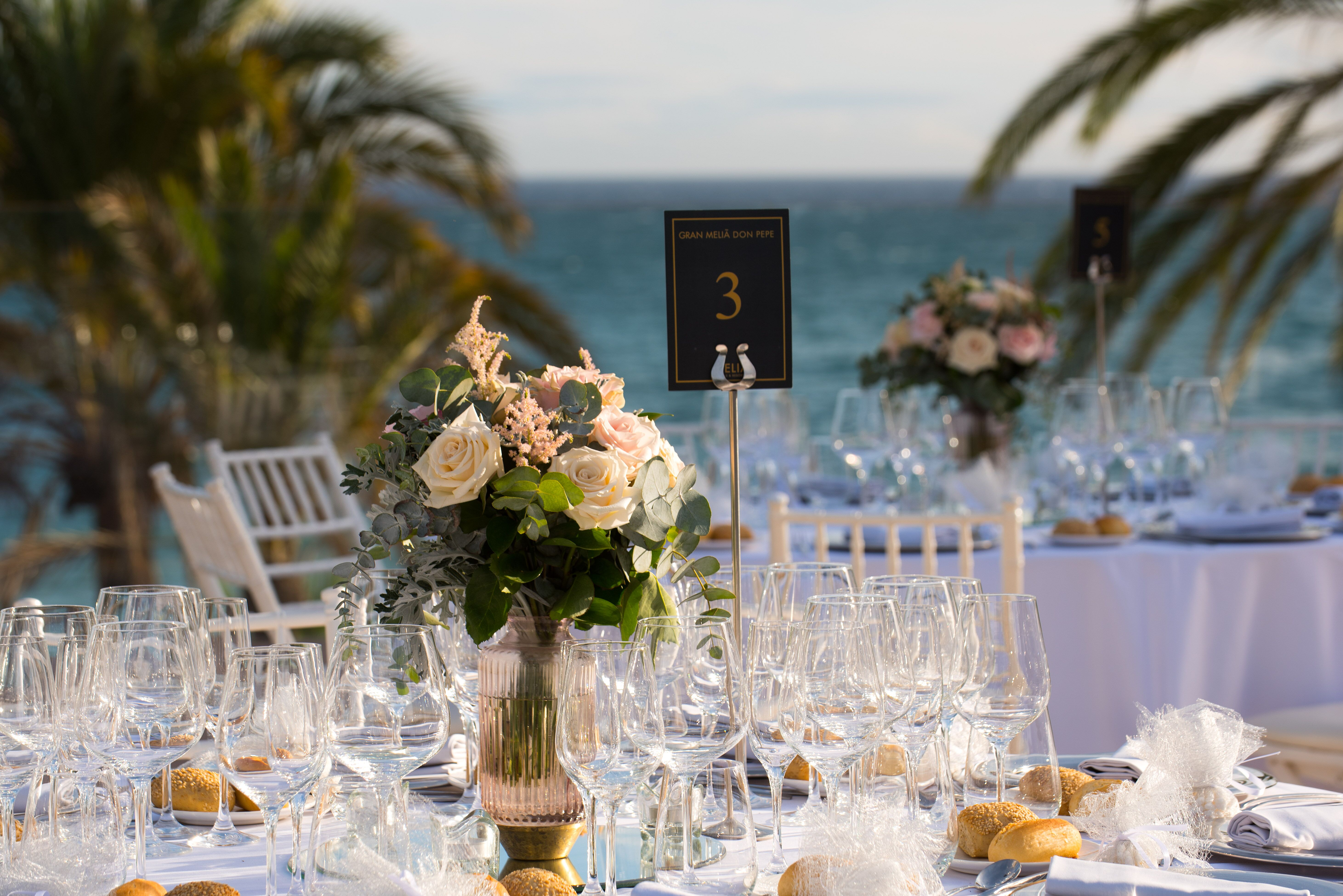 Guests dined elegantly, al freso, by the sea