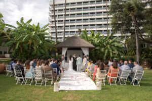 The ceremony in the hotel's gardens