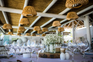 Stylish wedding decor inside the beach club