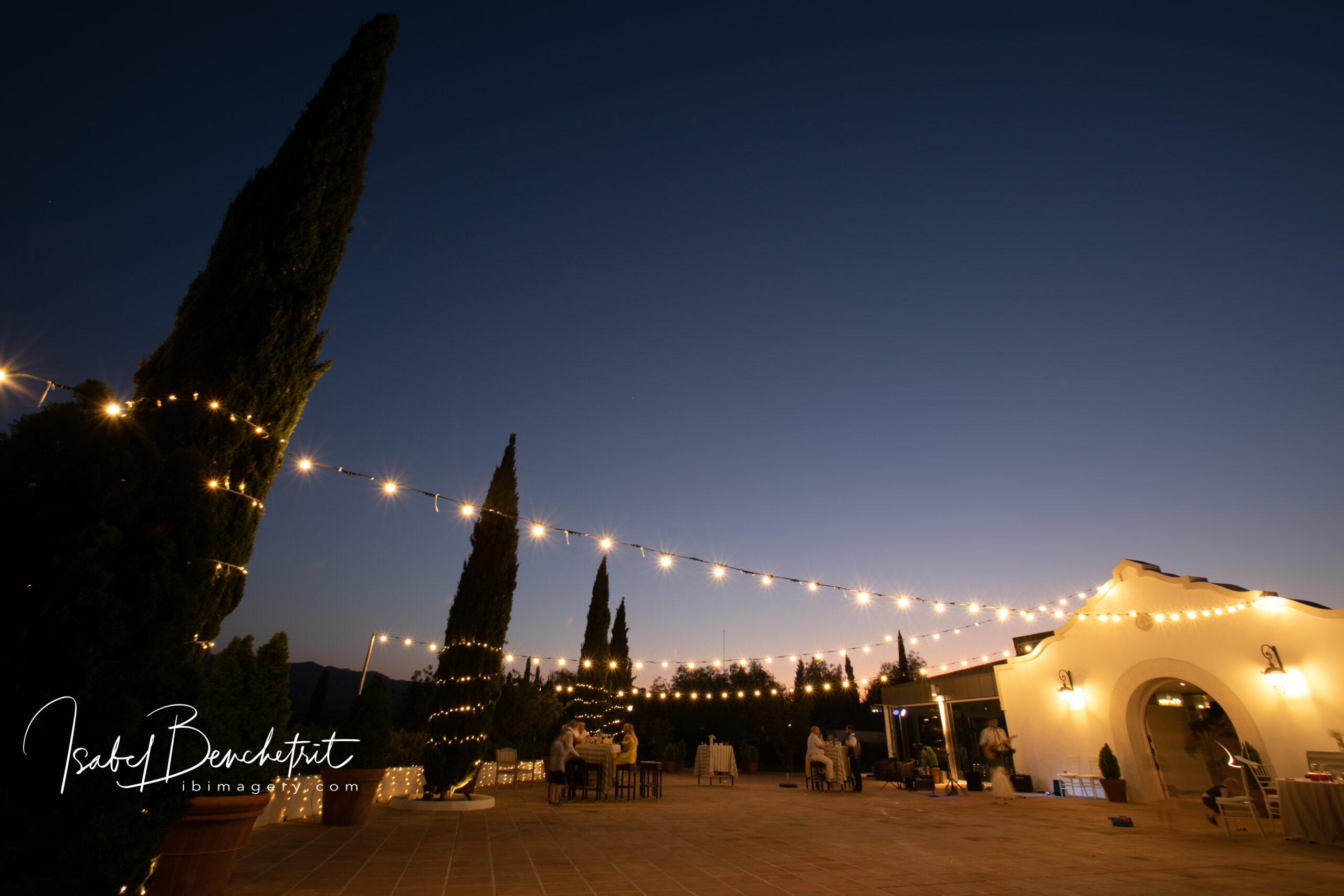 Fairy lights illuminate the Cortijo grounds at night