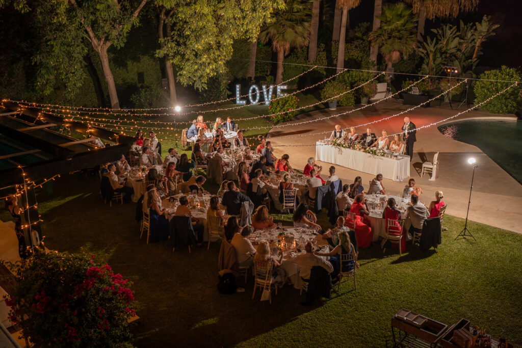 The evening wedding meal in the Villa's gorgeously illuminated grounds - Chris Wallace, Carpe Diem Photography