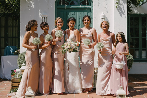 The bride and her bridesmaids outside the Villa - Image Pedro Bellido Photograhy