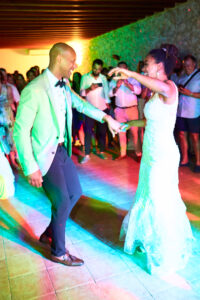 The bride and groom dance the night away in the Finca's party room, Thad Medford Photography