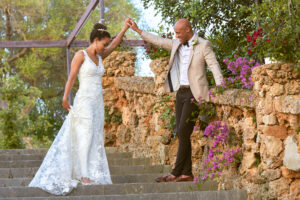 The bride and groom in the Finca's glorious gardens, Thad Medford Photography