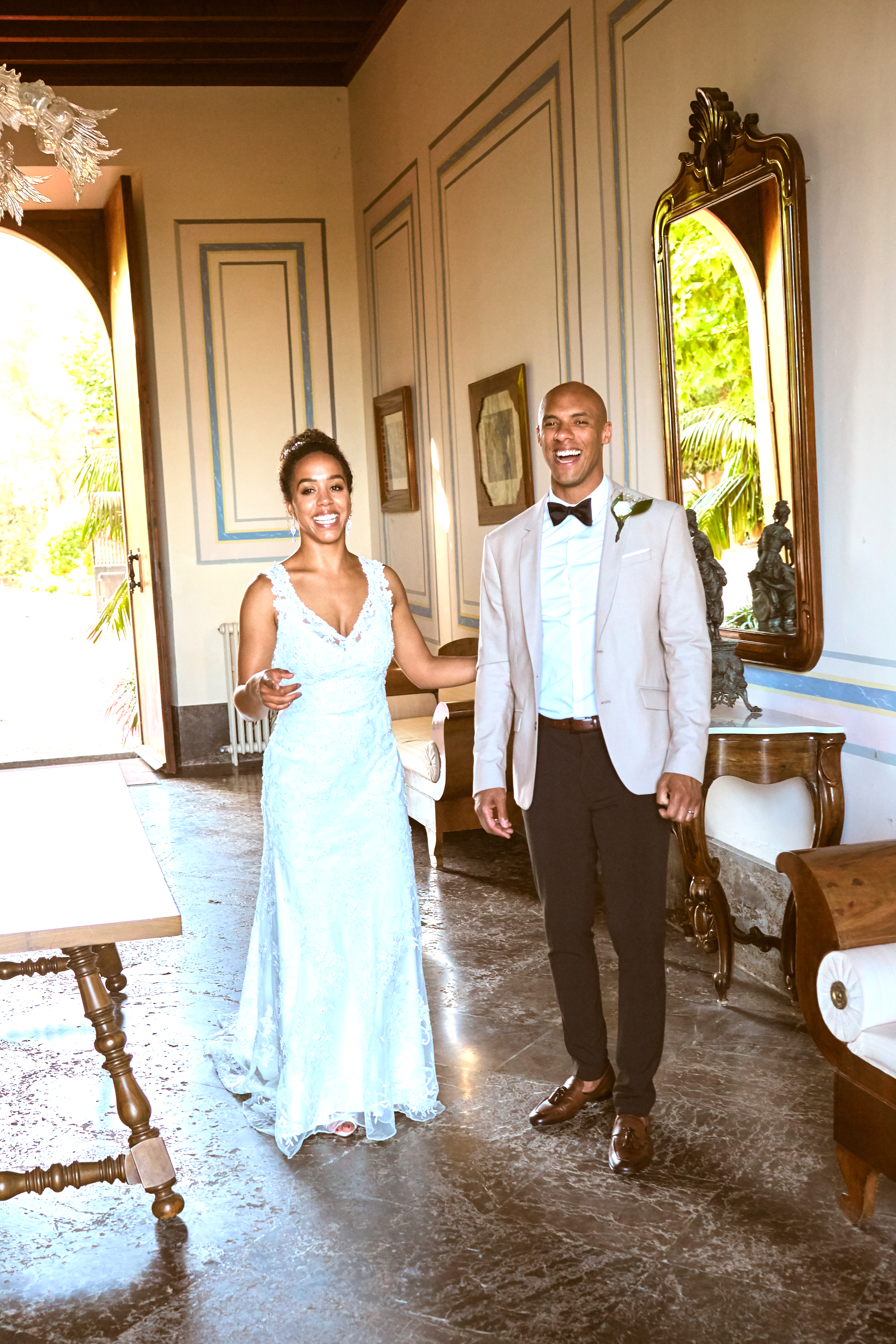 The bride and groom inside the elegant Finca, Thad Medford Photograhy