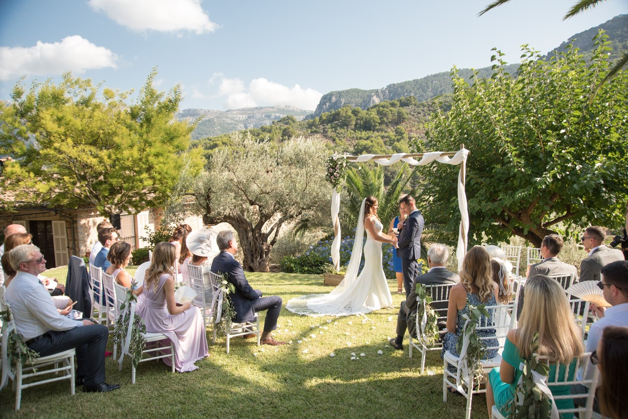 The beautiful outdoor wedding ceremony in Spain's Mallorca.