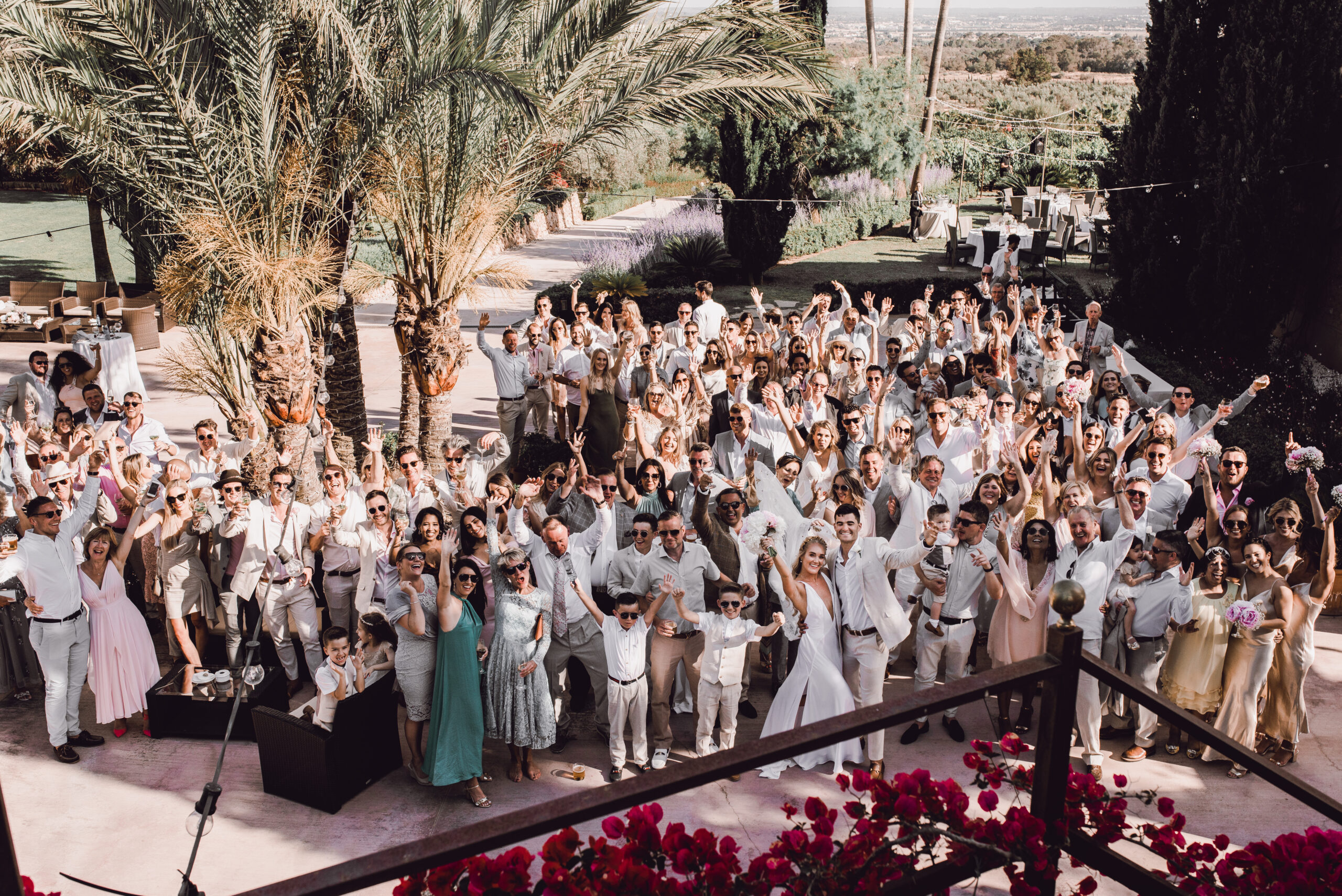 The bridal party in the grounds of the Finca - Rebecca Jackson Photography