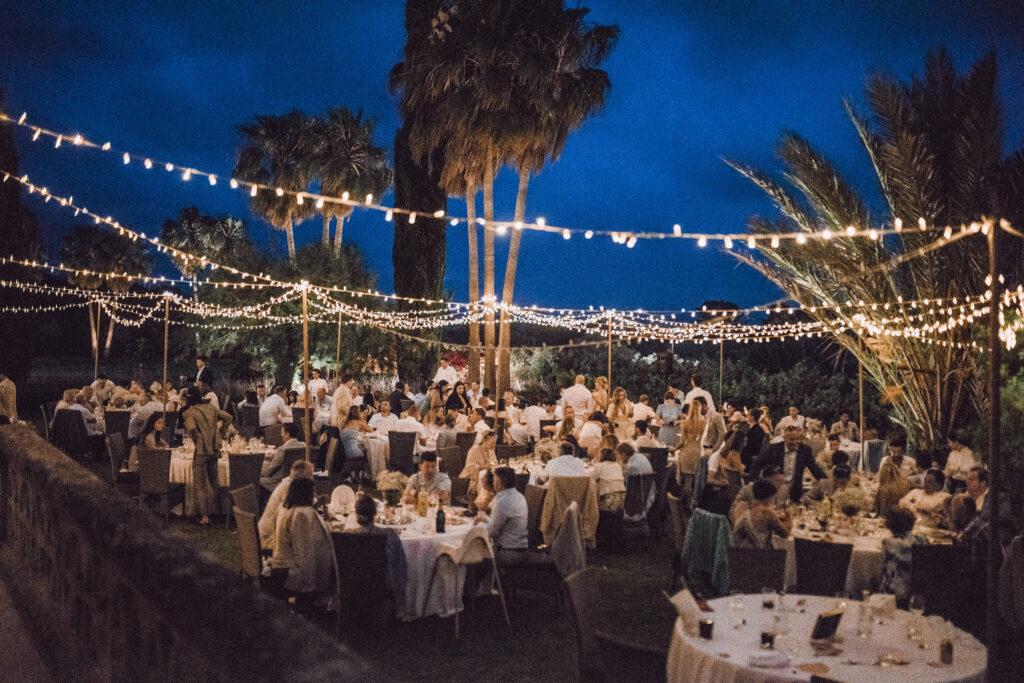 The fairy-lit Finca gardens at night - Rebecca Jackson Photography