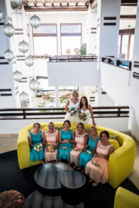 The happy couple and their bridesmaids - Rebecca Davidson Photography