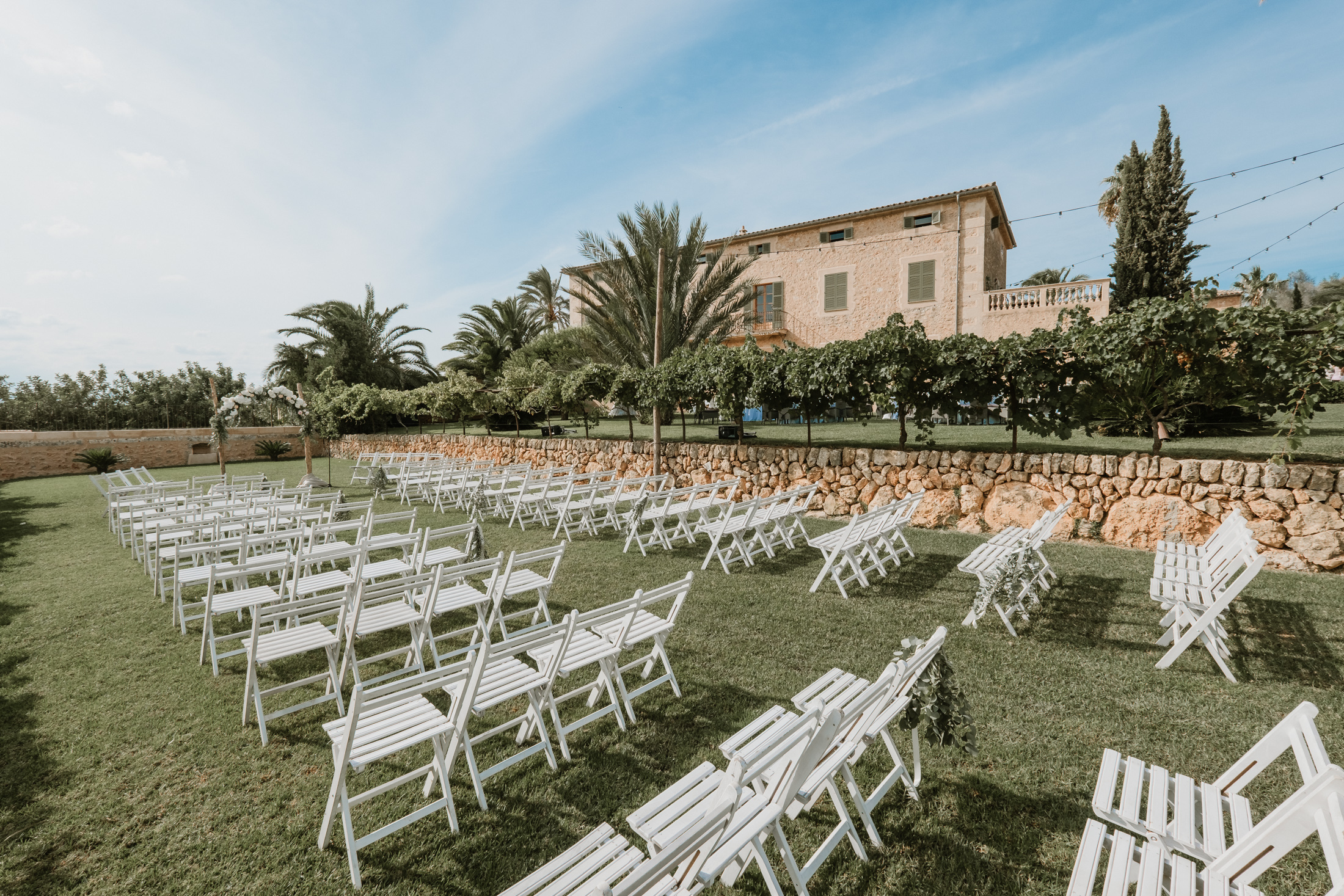 The ceremony set up on the lawns of the Finca - Aimee K Photography