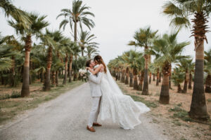 The bride and groom on the Finca's stunning driveway