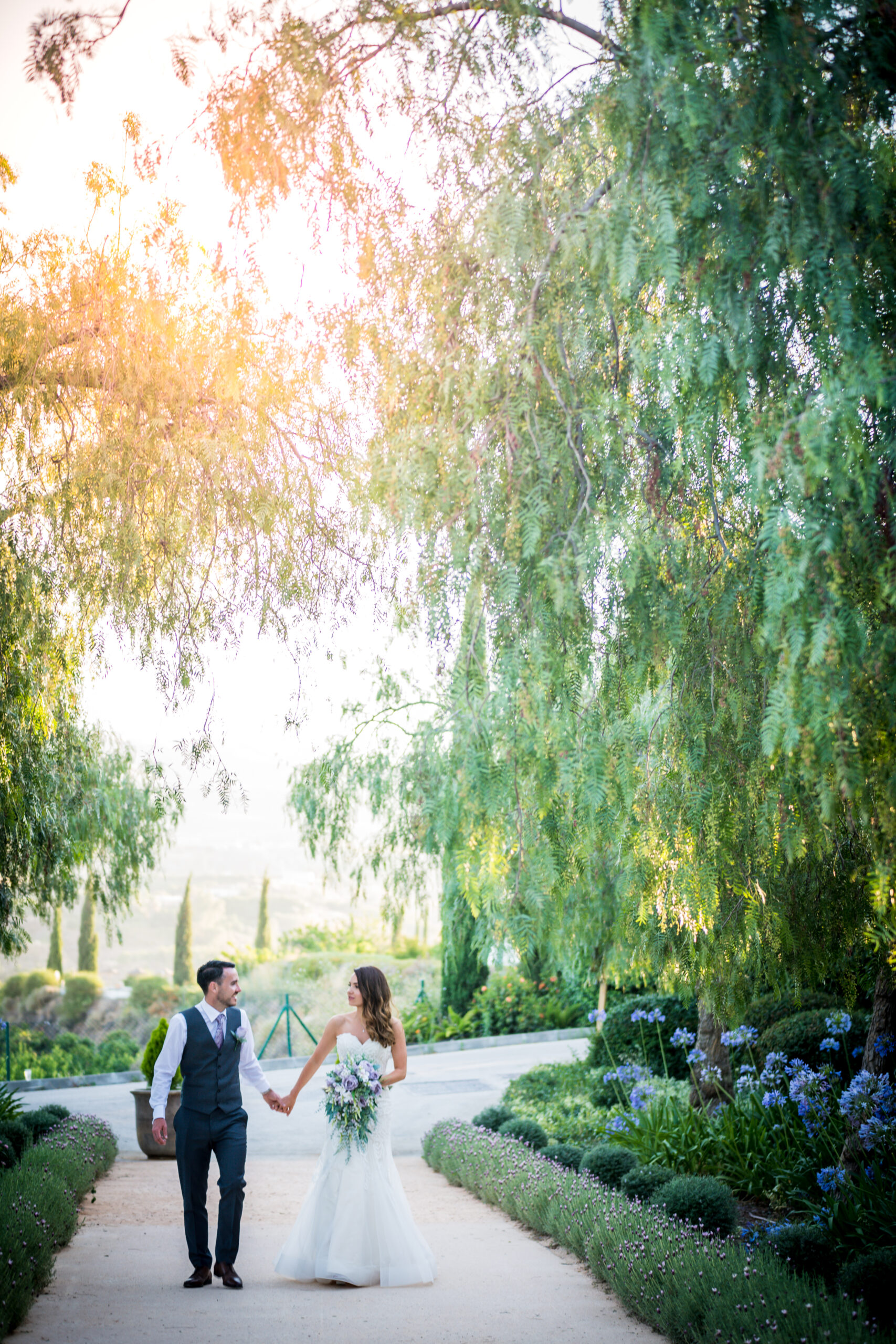 The bride and groom in the grounds of the Cortijo - Rebecca Davidson Photography