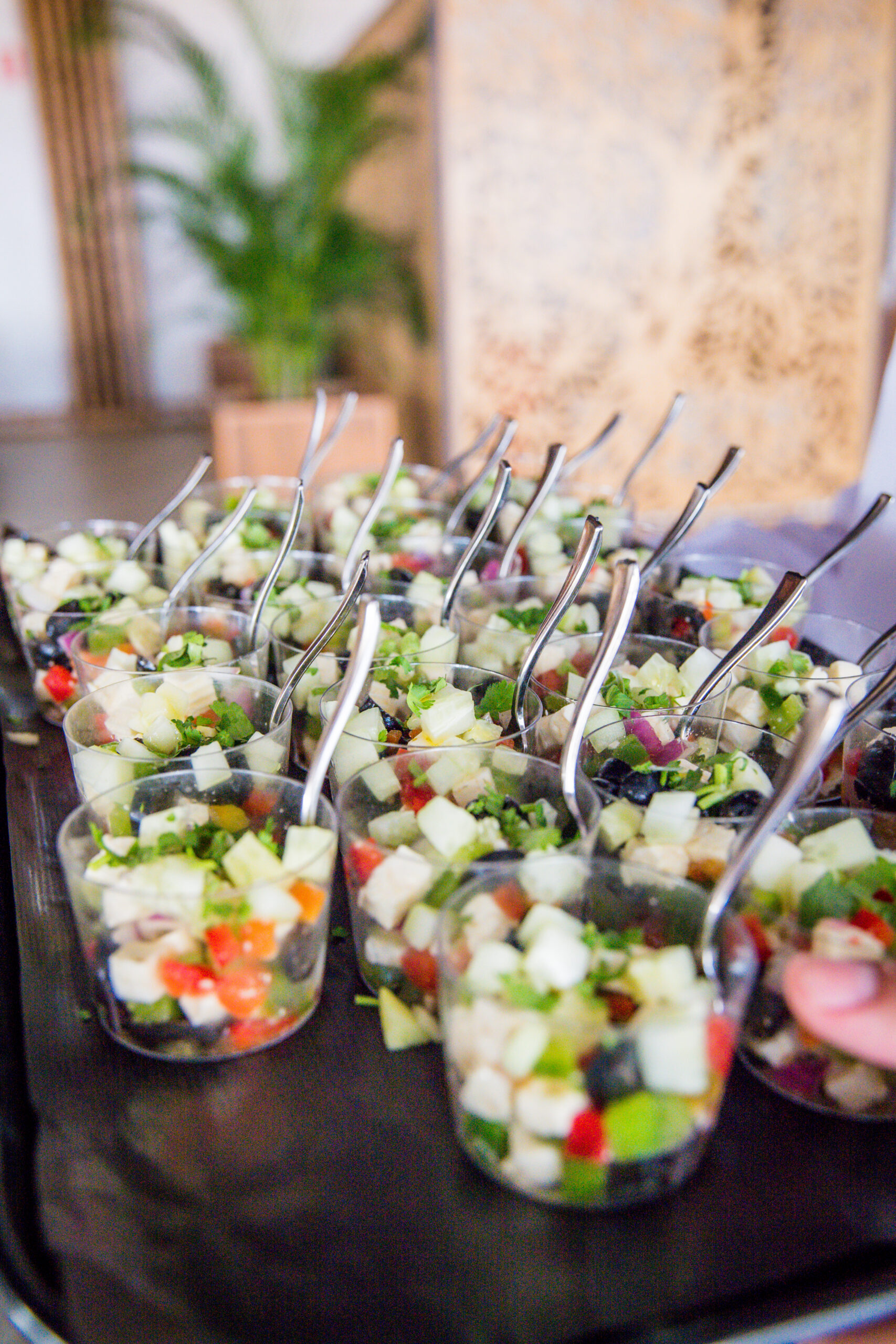 The delicious mozzarella and tomato salad served at the wedding breakfast - Rebecca Davidson Photography