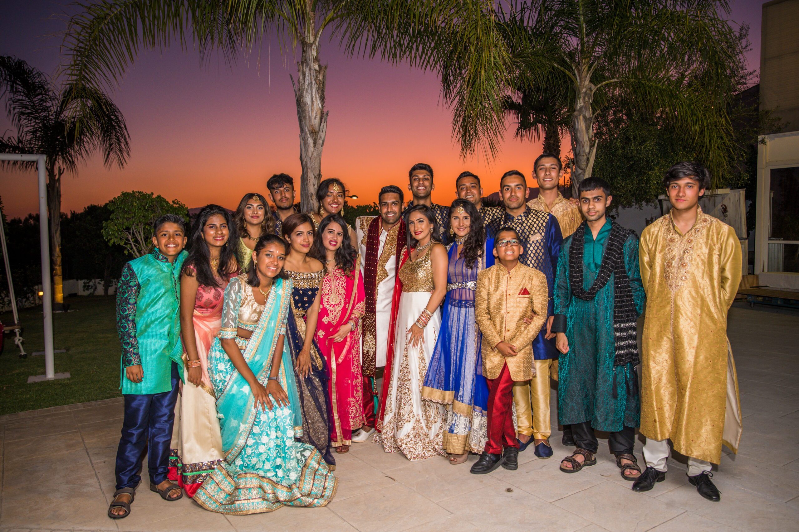 The wedding party at sunset in the glorious Finca gardens - Rebecca Davidson Photography