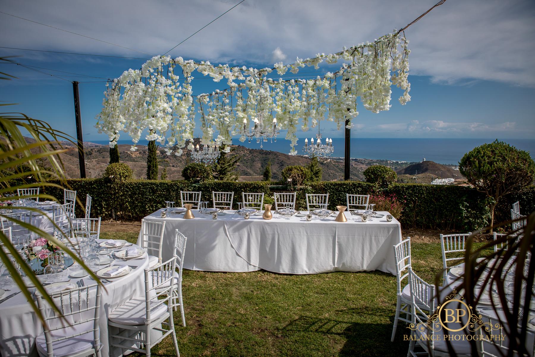 Wedding table decor in Spain.
