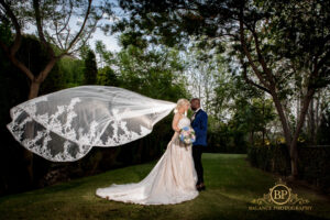 The newlyweds in the grounds of the Finca - Balance Photography