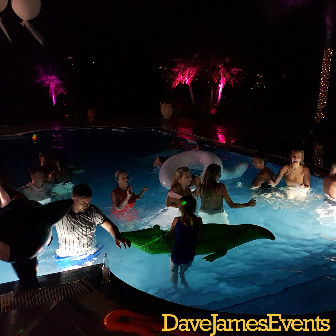 Dave James wedding DJ - the party takes to the pool