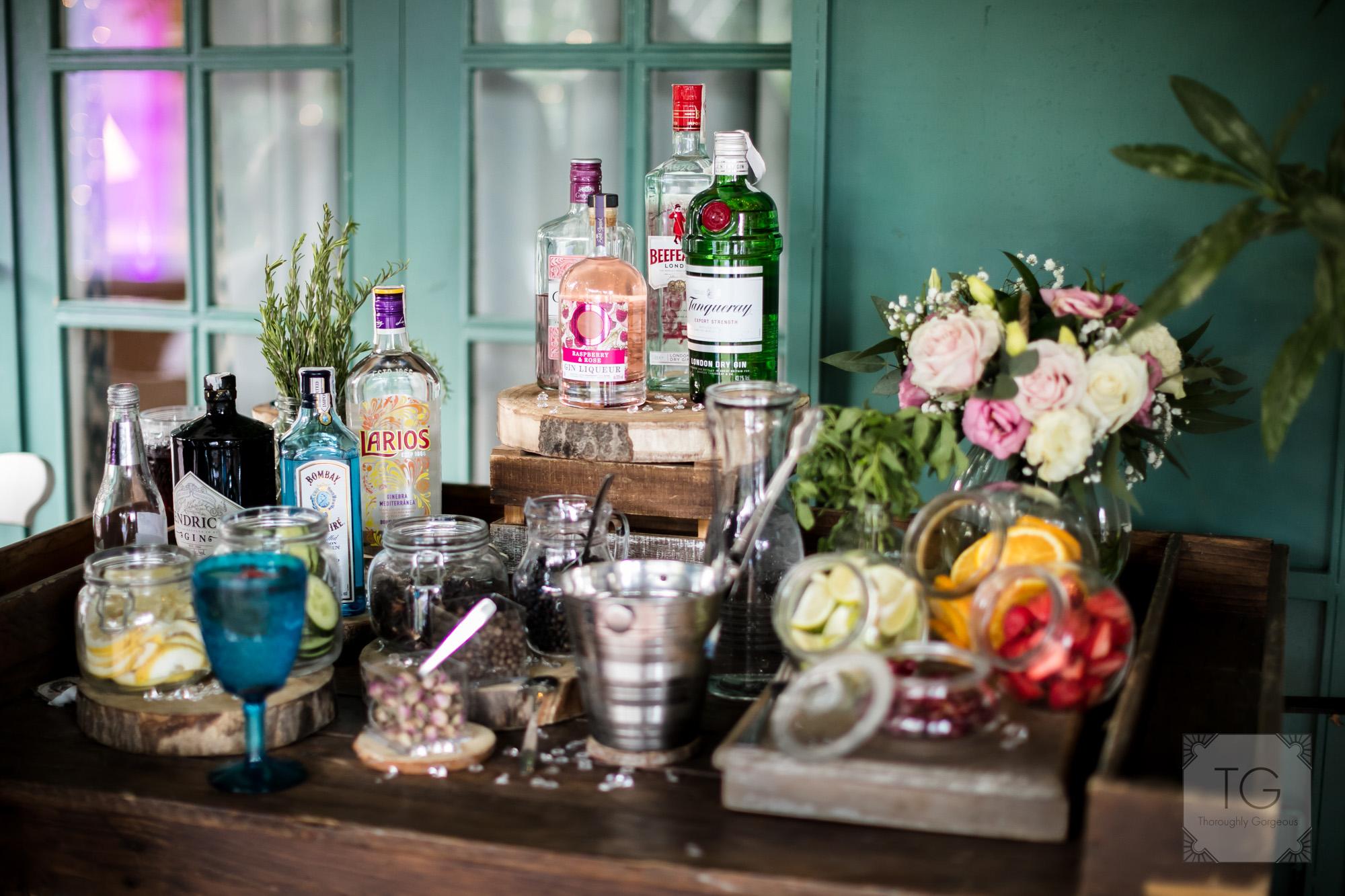 Drinks station, villa wedding
