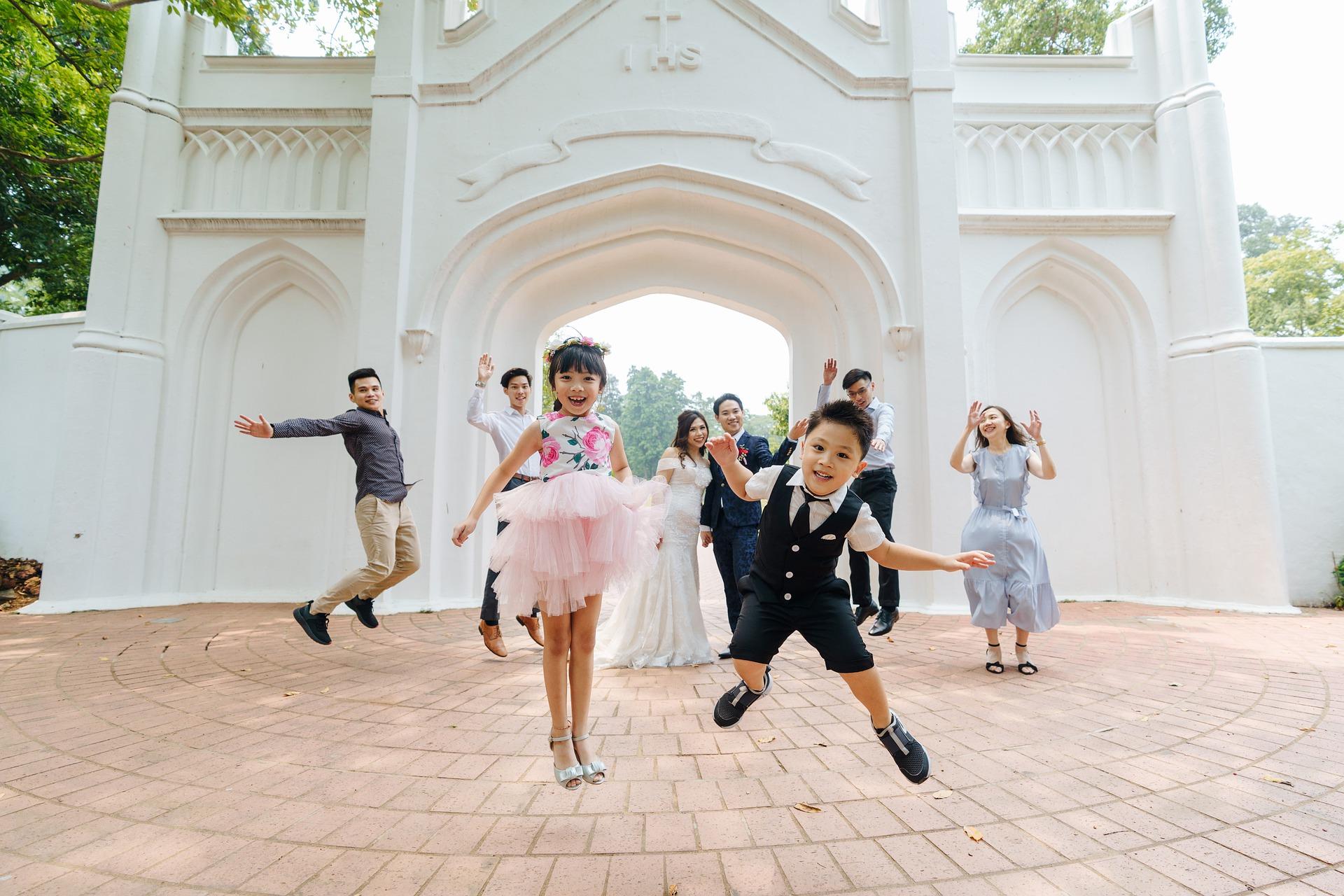 Happy children at a wedding