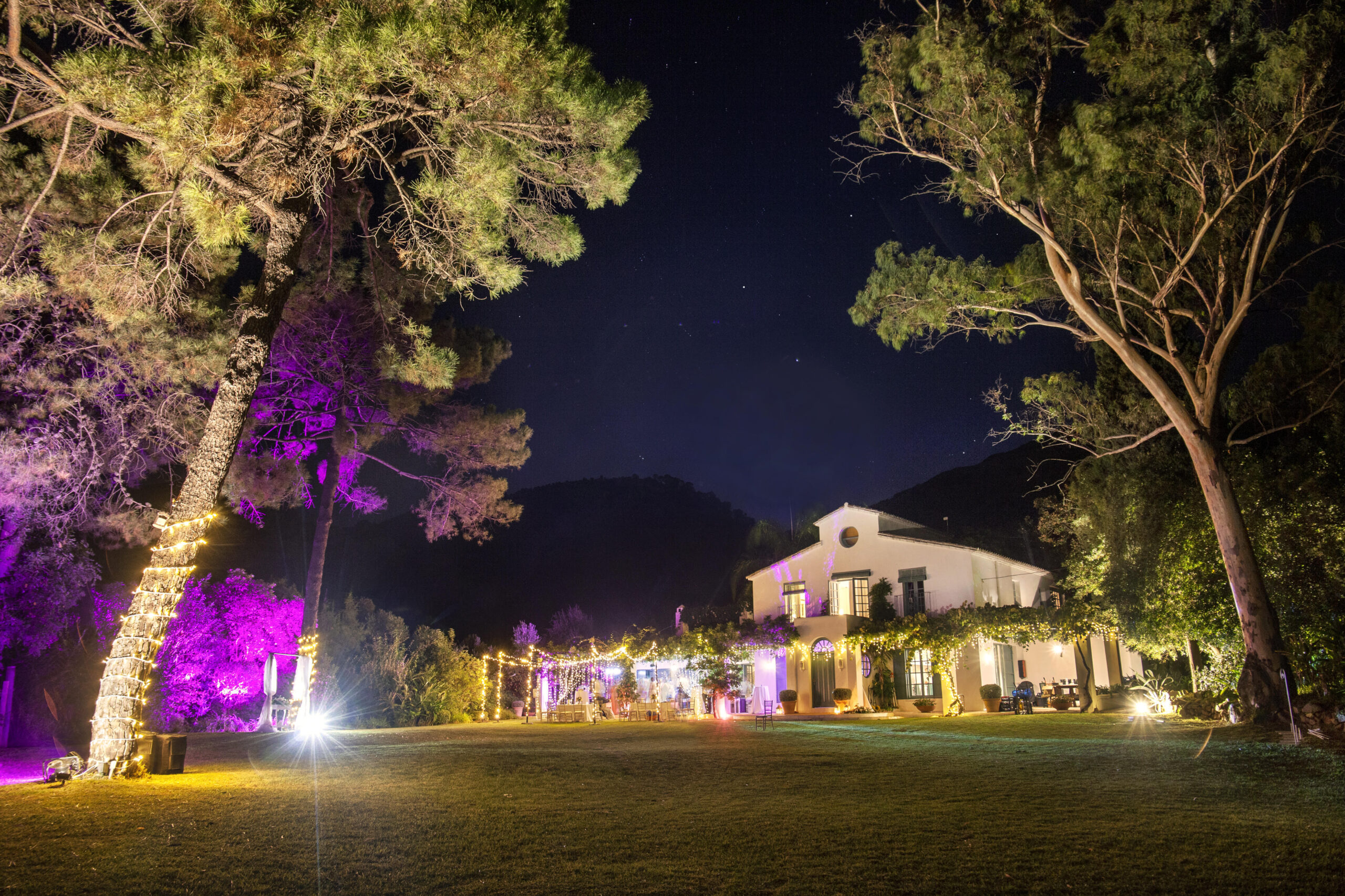 Night view of a stunning wedding villa in Spain.
