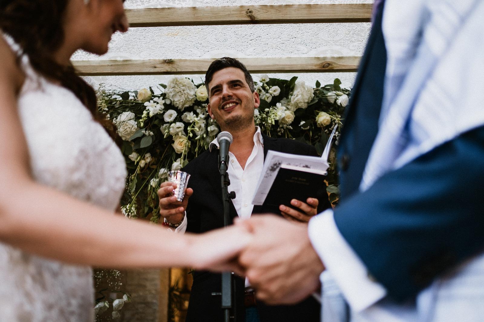 Rabbi Haim officiating a wedding ceremony in Spain