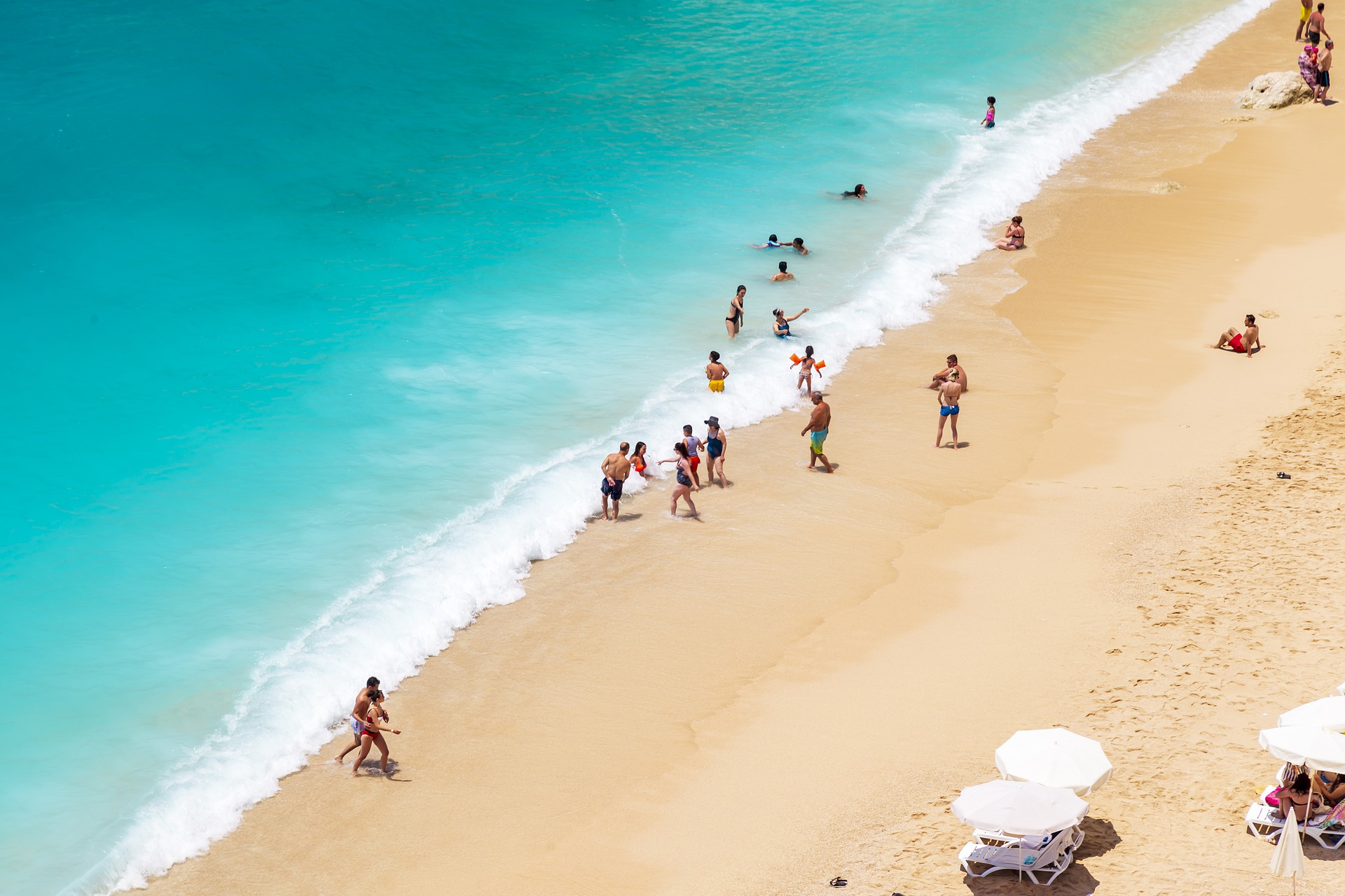 beach, tourists
