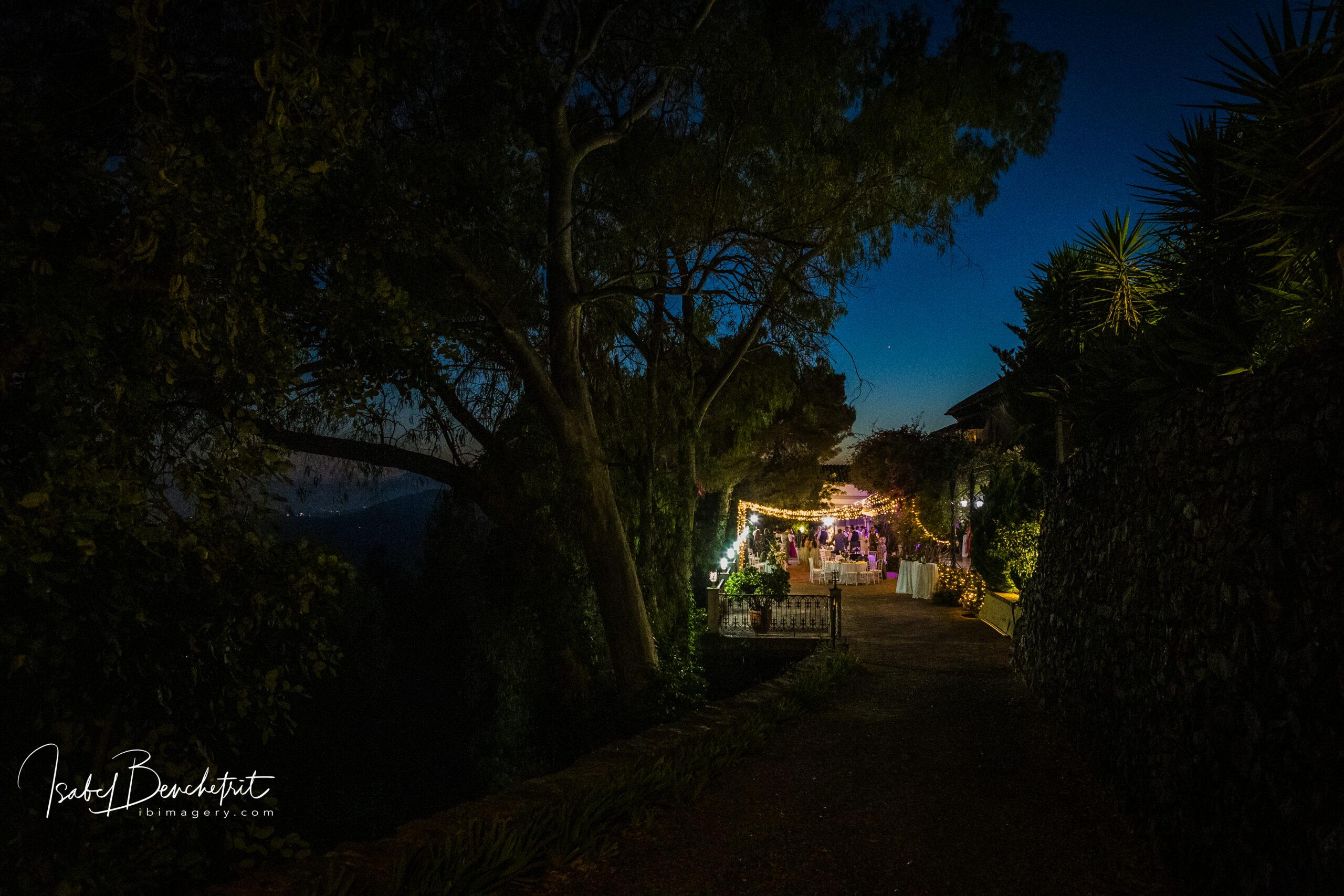 The stunning wedding venue at night